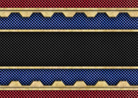 an alloy: brass or bronze plate with black mesh background, 3d, illustration