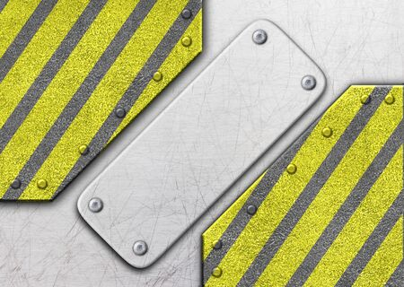 metal frame with warning stripe, danger zone iron background, 3d, illustration Stock Photo