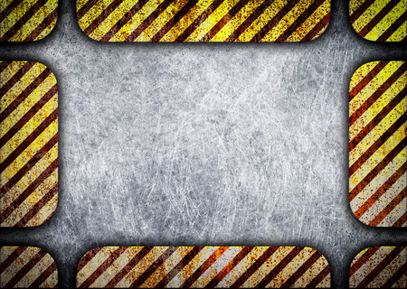 Grunge Black and Yellow Surface as Warning or Danger Frame, Old Metal Textured, 3d, illustration