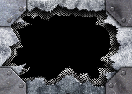 metal surface with hole pattern punched iron sheet, 3d, illustration Imagens