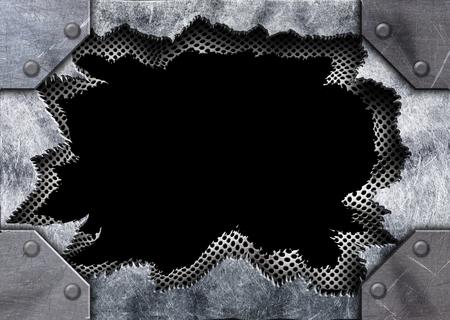 Metalen oppervlak met gat patroon stempel ijzer, 3d, illustratie Stockfoto