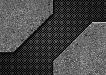 brushed steel: steel black mesh on a background of metal bars, 3d, illustration