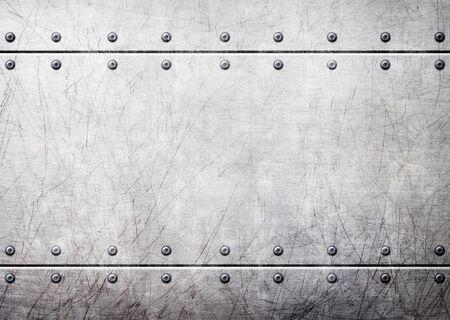 素朴な鋼背景、3 d、イラスト上のリベットの金属板
