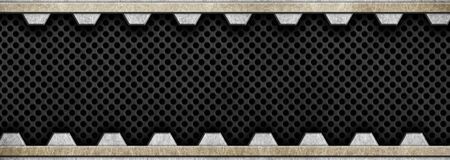 an alloy: black metal mesh with aluminum plates, background texture, 3d, illustration
