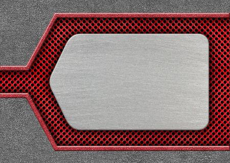 metal plate on a red lattice steel frame design solutions, 3d, illustration