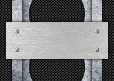 brushed steel: dark metal frame with mesh background iron plate, 3d, illustration Stock Photo