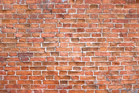 solid background: Old brick wall, old texture of red stone blocks closeup Stock Photo