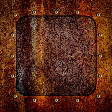 Old metal rusty iron plate for backgrounds, 3d, illustration Banco de Imagens