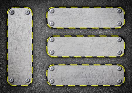 steel frame, background old metal plate with rivets, 3d, illustration Banco de Imagens