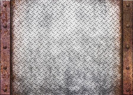 grille: old rusty metal plate over comb grid or grille background, 3d, illustration