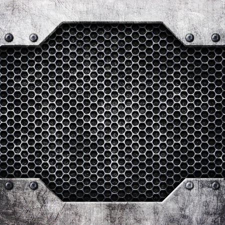 steel mesh pattern with metal plates and rivets, 3d, illustration
