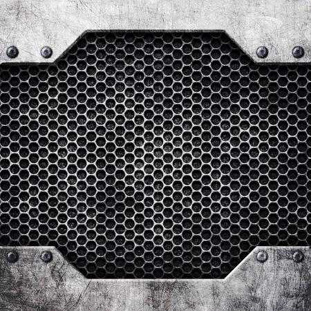 steel mesh pattern with metal plates and rivets, 3d, illustration Banco de Imagens - 83129393