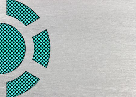 turquoise or teal mesh fixed metal sheets, 3d, illustration Imagens