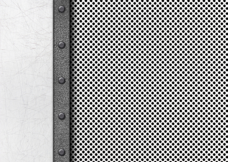 Metal plates and grid surface as a background for the design, 3d, illustration