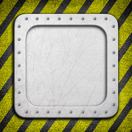 sheet metal: metal frame with warning stripe, danger zone iron background, 3d, illustration Stock Photo