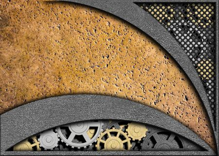 metal background with gears, iron texture with a mechanism, 3d, illustration