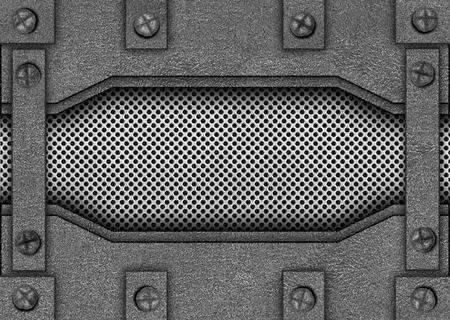 metal mesh reinforced plates and rivets, background, 3d, illustration Banco de Imagens