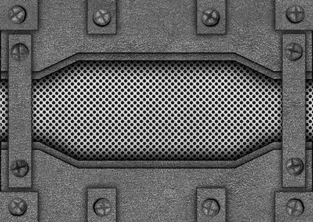 metal mesh reinforced plates and rivets, background, 3d, illustration Imagens