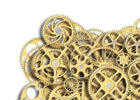 metal gear golden color, industrial background for design, 3d, illustration