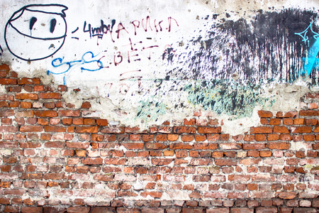 old brick wall destroyed plaster texture grunge weathered surface as background
