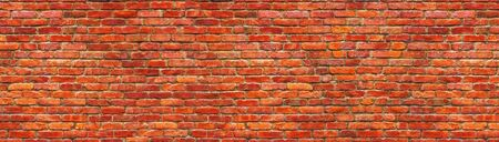 Grunge brick wall, old brickwork panoramic view.