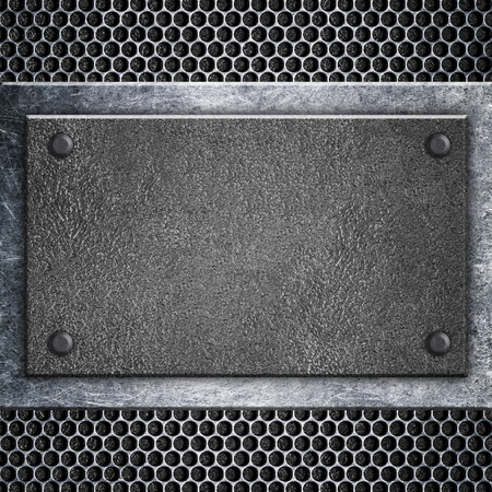 heavy: Metal plate with the mesh structure a lattice iron frame, 3d illustration.