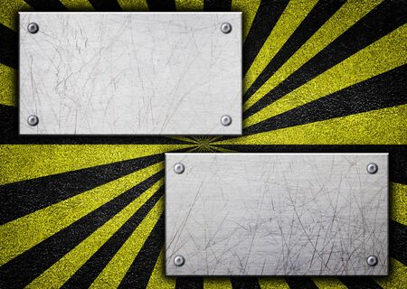 hazard stripes: Metal background with warning coloring black and yellow, 3d illustration.