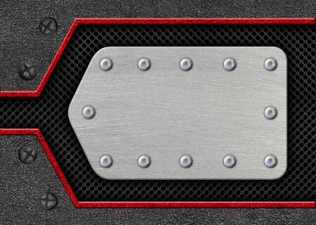 Metal plate on a red mesh iron pattern as background, 3d illustration.