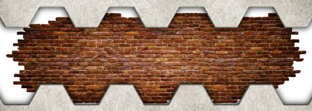 aluminium texture: red brick wall in a metal frame, wall texture of the blocks, 3d, illustration