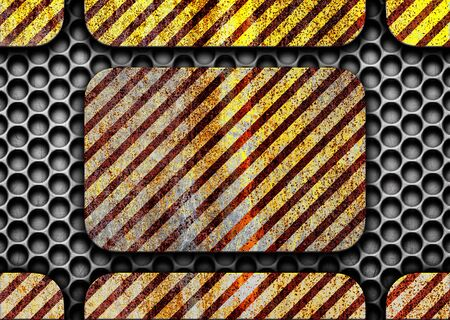 steel plate: metal plate with black and yellow stripes, 3d, illustration Stock Photo