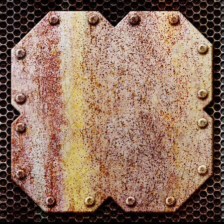Rusty metal plate on the background iron mesh, 3d, illustration