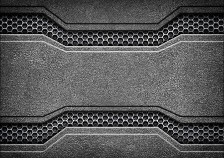 steel plate: Grunge metal background with shiny metal plate, 3d, illustration Stock Photo
