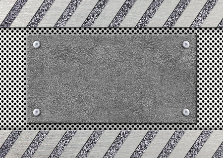 Steel gray mesh with a metal frame for an inscription, 3d, illustration Imagens