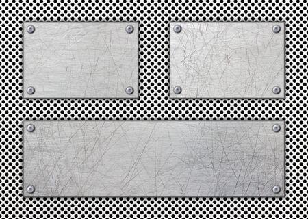 steel frame, background old metal plate with rivets, 3d, illustration Imagens