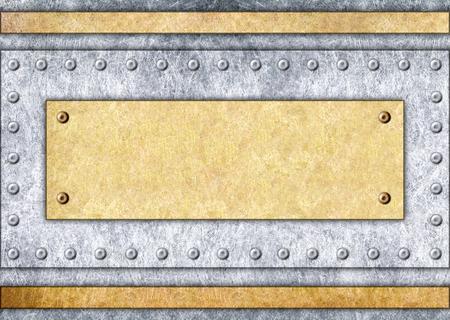 Bronze frame, metal plate in the background. Iron template for design, 3d, illustration Banco de Imagens - 84323039