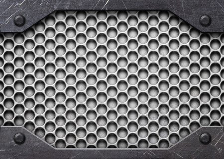 Steel mesh pattern with metal plates and rivets, 3d, illustration Banco de Imagens - 84320228