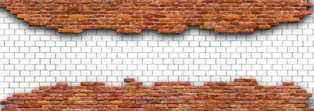 red brick wall destroyed by stone blocks