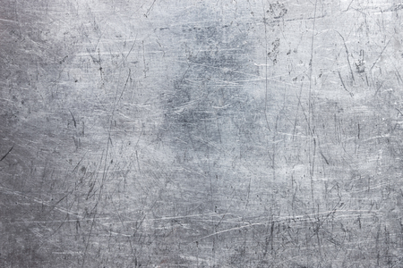 brushed aluminum: Gray steel plate texture, grunge metal background with silvery luster Stock Photo