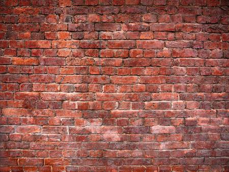 Red brick wall in vintage style, brickwork background