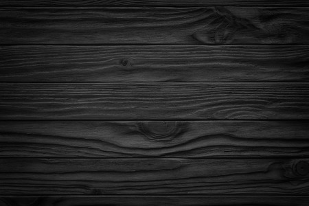 Black wooden plank, tabletop, floor surface or chopping, dark wood texture