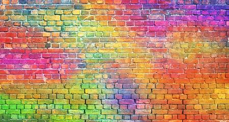 pomalowany mur z cegły, abstrakcyjne tło w różnych kolorach