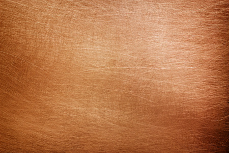 Copper plate texture, brushed orange metal surface Stock Photo