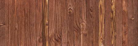 Panorama from brown wooden planks, wood table background 写真素材