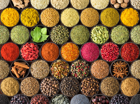 Bright spice background, top view. Collection  seasoning and herbs of Indian food 写真素材