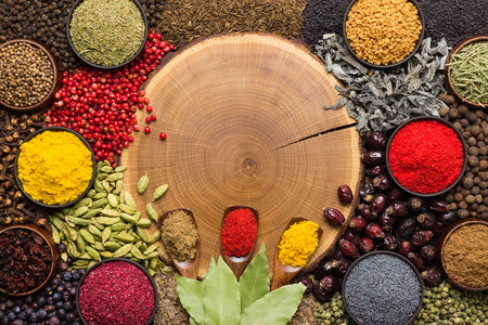 Spices and herbs background with empty space for text or label. Colorful condiments, top view.