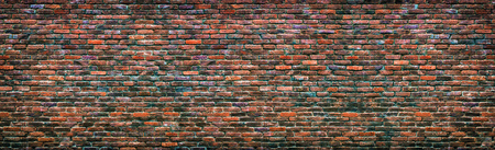 grunge brick wall texture, panoramic background masonry colorful