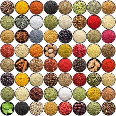 set of indian spices and herbs isolated on white. Seasoning for Asian food, top view