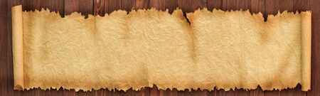 Panorama of old paper on the table, background texture Banco de Imagens