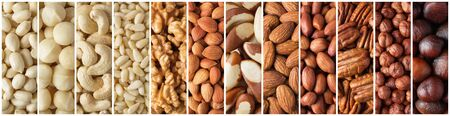 mix of peeled nuts, raw food background