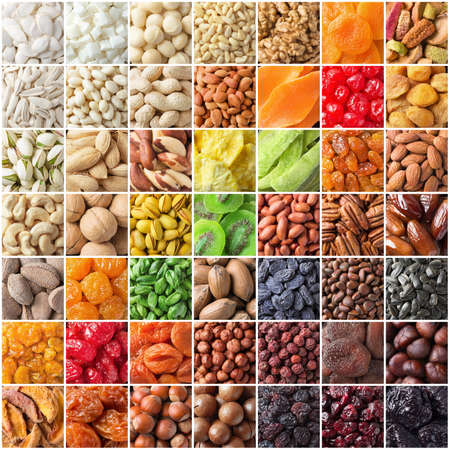 assorted nuts and dried fruit, large mix organic food background.
